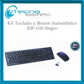 Kit Teclado y Mouse Inalambrico KW-100 Negro