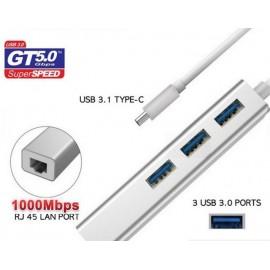 Adaptador USB Tipo C 3.1 a Hub USB 3.0 Rj45 Giga Lan